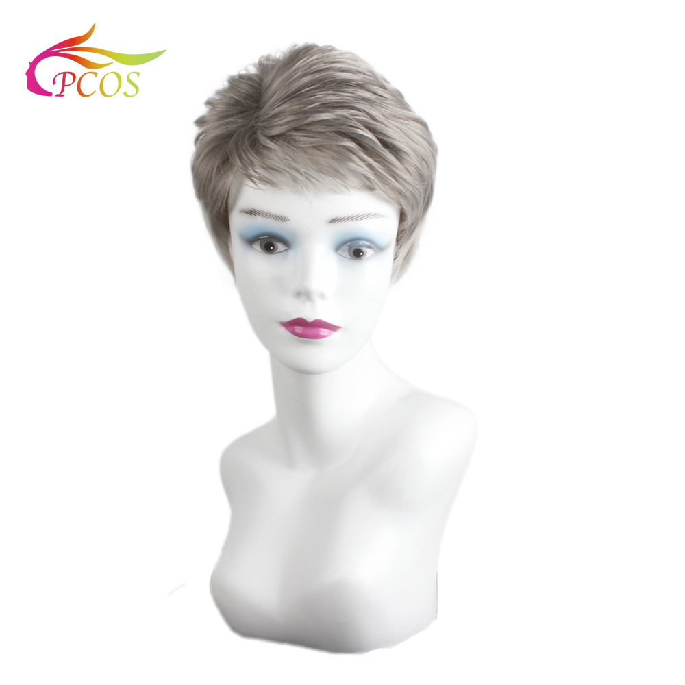 CPCOS Short Fluffy Natural Wave Grey Full Synthetic Hair Wigs for Women High Temperature Fiber Fashion Lady Wig