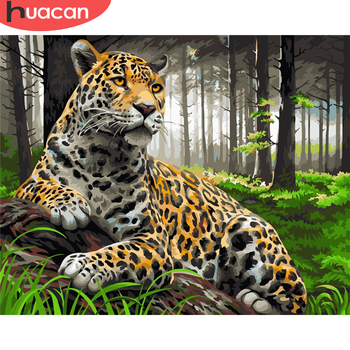 HUACAN DIY Pictures By Number Kits Home Decor Painting By Numbers Leopard Animal Drawing On Canvas HandPainted Art Gift