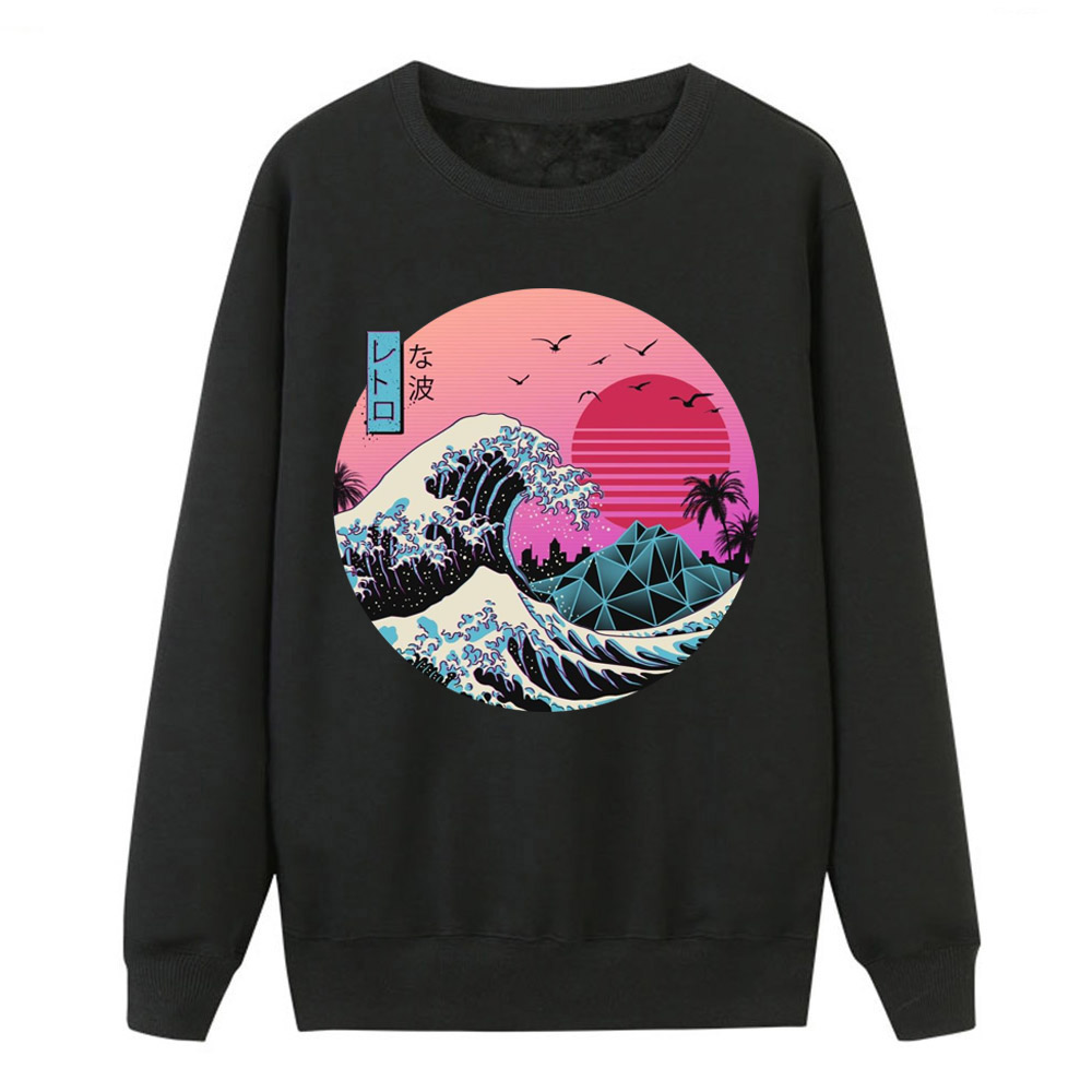 The Great Retro Wave Sweatshirts Women Crewneck Hoodies Japan Anime Vaporwave Pullover Women Winter Harajuku Fleece Streetwear