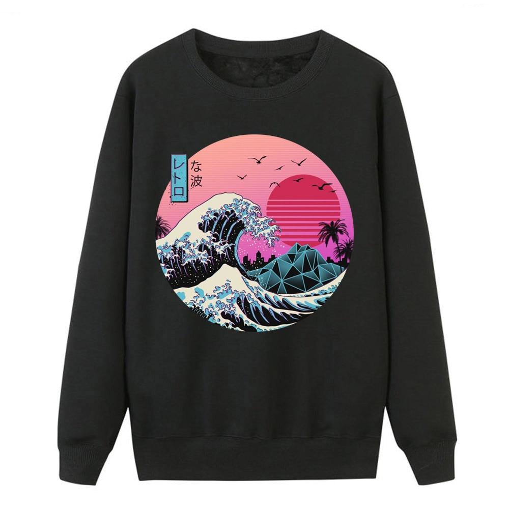 The Great Retro Wave Sweatshirts Women Crewneck Hoodies Japan Anime Vaporwave Pullover Women Winter Harajuku Fleece Streetwear