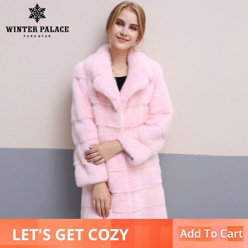 Kadın Giyim'ten Gerçek Kürk'de 2018 kış yeni stil kürk doğal mlnk standı yaka kaliteli mlnk kürk 90 cm uzun palto kürk moda ince kürk'da  Grup 1