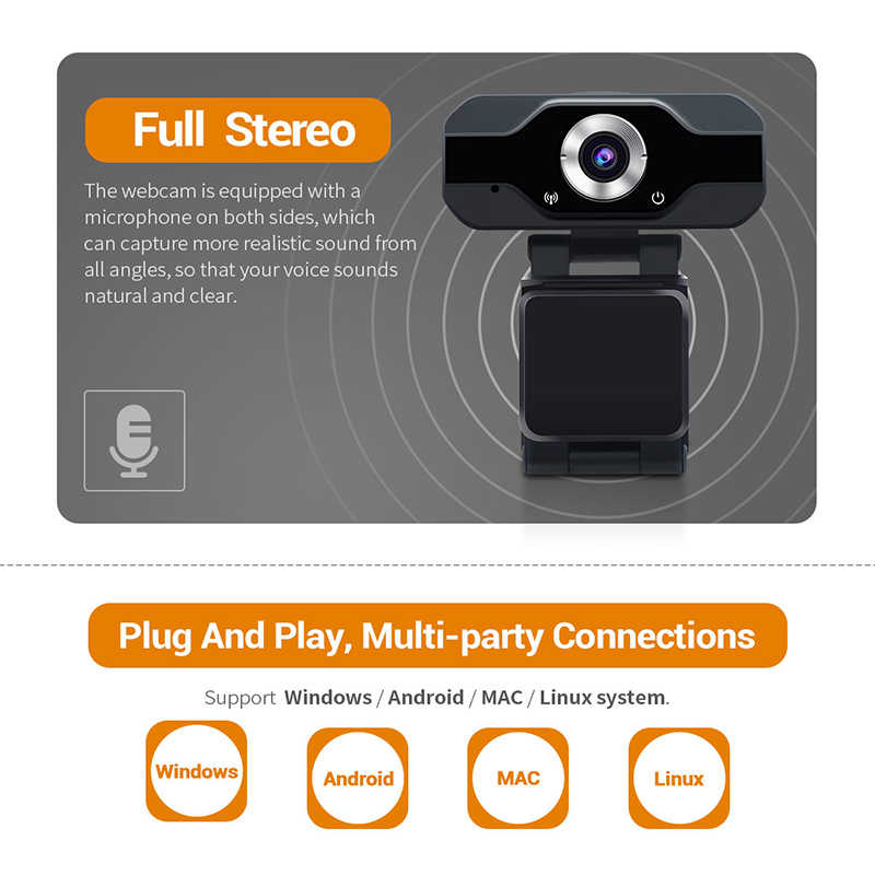 Escam PVR006 Usb Webcam Full Hd 1080P Web Camera Met Noise Cancellation Microfoon Skype Streaming Live Camera Voor Computer