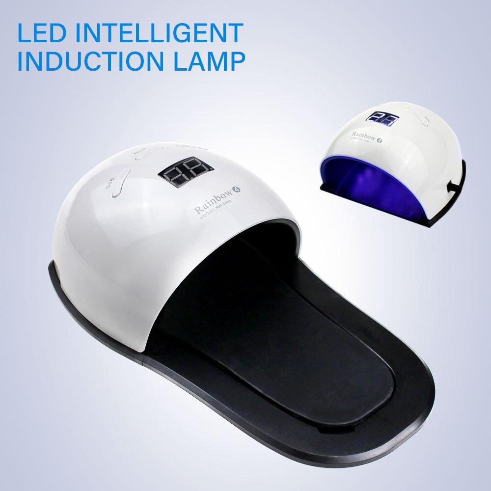 Rainbow 4 Nail Lamp 48w Electric UV LED Nail Lamp Machine Drying Hands Curing Feet 48w LED Light Nail Art Equipment Powerful 48