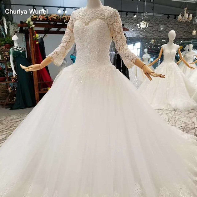 LSS047 élégante robe de mariée ivoire col rond à manches longues à lacets dos musulman vestido madrinha de casamento longo