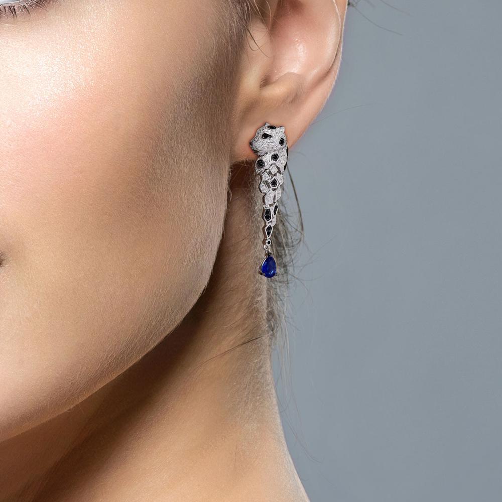 SANTUZZA Silver Earrings For Women 925 Sterling Silver Leopard Sparkling Blue Cubic Zirconia Drop Earrings Trendy Fine Jewelry