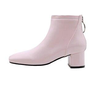 Image 2 - Botines de mujer informales con tacón de bloque, botas cortas impermeables, color rosa, rojo y blanco, talla grande