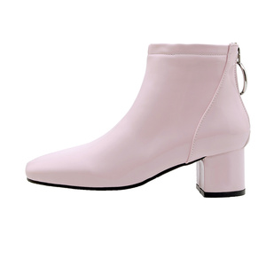 Image 2 - Solid Ankle Boots For Women Casual Block Heels Waterproof Short Boots Pink Red White Womens Ankle Boots Short Shoes Large Size