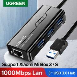 ТВ-приставка Ugreen, USB Ethernet USB 3,0 2,0 к RJ45 хаб для Xiaomi Mi Box 3/S телеприставка, Ethernet адаптер, сетевая карта USB Lan