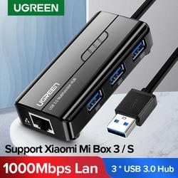 Ugreen USB Ethernet USB 3.0 2.0 a RJ45 HUB per Xiao mi mi scatola 3/S Set-top box Ethernet Adapter Scheda di Rete USB Lan