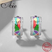 אופנה 925 כסף מדהים creative גיאומטרי דפוס DIY צבעוני אמייל בסדר עגילי המפלגה תכשיטים