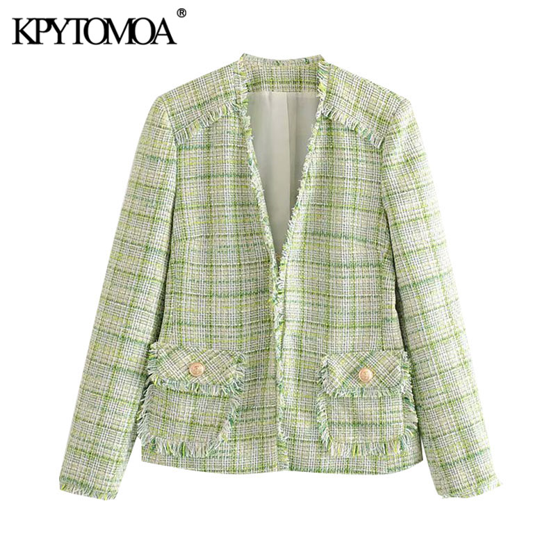 KPYTOMOA Women 2020 Fashion Office Wear Frayed Trims Tweed Blazer Coat Vintage Long Sleeve Pockets Female Outerwear Chic Tops