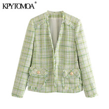 KPYTOMOA Women 2020 Fashion Office Wear Frayed Trims Tweed Blazer Coat Vintage L