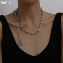 Purui Cuban Link Chain Pendant Choker Necklace Goth Steampunk Men Metal Circle Chain Tassel Necklace Hiphop Rock Fashion Jewelry black metal chain fringe choker necklace