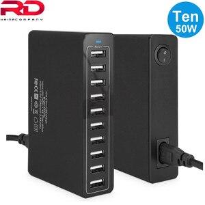 Image 2 - 10 портов несколько зарядных устройств USB зарядная станция устройство с разными портами устройство быстрой зарядки 5V10A 50W быстрое зарядное устройство EU/US/UK зарядное устройство для iPhone xiaomi