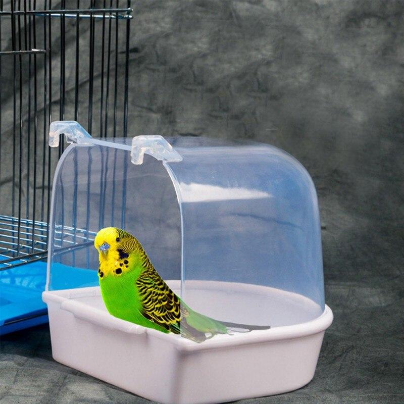1Pc Plastic Bird Water Bath Box Bathtub Parrot For Parakeet Lovebird Bird Pet Cage Hanging Bowl Parakeet Birdbath Pet Supplies