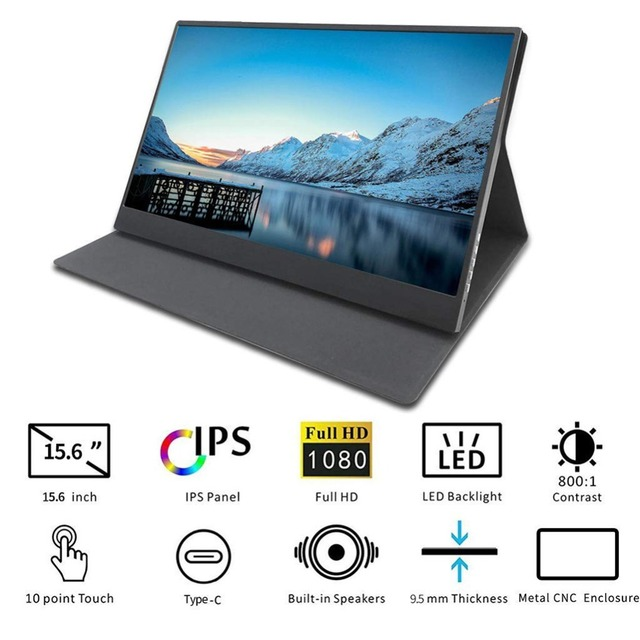 """Touch screen HD Gaming Portable Monitor 15.6"""" 2Type C(USB-C) laptop PS4 3"""