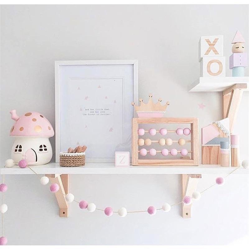 censhaorme 2m Handmade Felt Balls Kids Room Ornament Wall Hanging Home Decor Nursery Pom Pom Garland Party Props