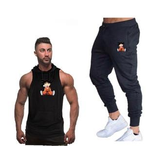 Image 4 - 夏新ドラゴンボール男性のフード付きベストカジュアルスーツ男性の服の男はトップス + パンツ男性トレーナーブランドフード付きベストセット