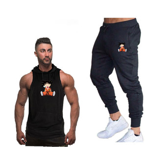 Image 4 - Summer New Dragon Ball Mens Hooded vest Casual Suits Mens Clothing Man Sets Tops+Pants Male sweatshirt Brand Hooded vest Set
