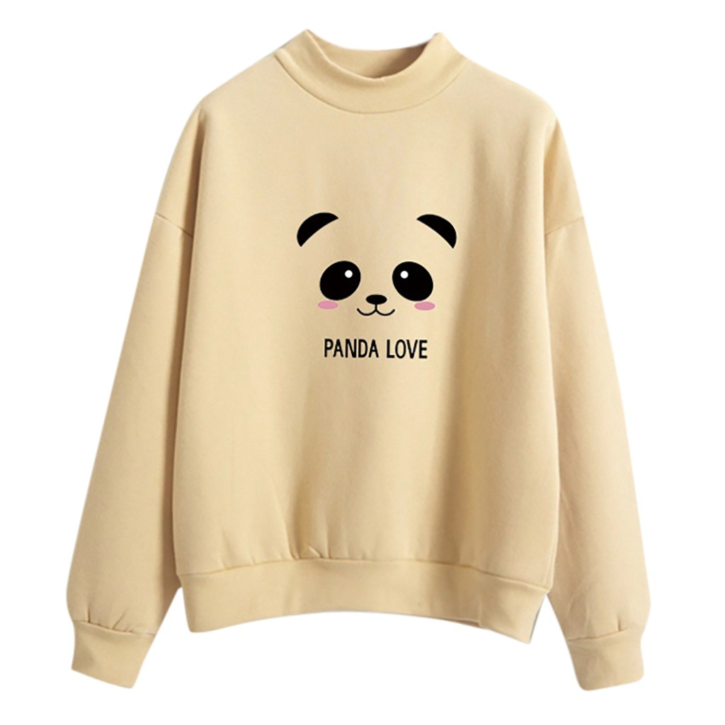 JAYCOSIN Trend Women Panda Printed Sweatshirt Casual Simple Long Sleeve Comfortable Soft Solid Color Cute Blouse Pullover Tops