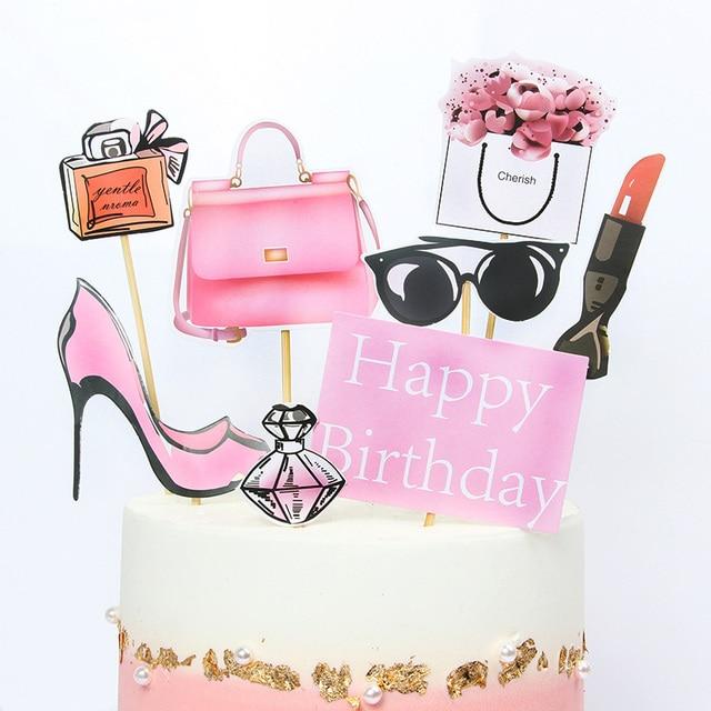 8/9 stuks Roze Gelukkige Verjaardag Cake Topper voor Wedding Party Cupcake Party Decoracion Mode Lippenstift opper Taart Benodigdheden bloem