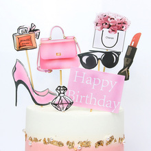 8/9pcs Pink Happy Birthday Cake Topper for Wedding Party Cupcake Party Decoracion Fashion Lipstick opper  Cake Supplies Flower
