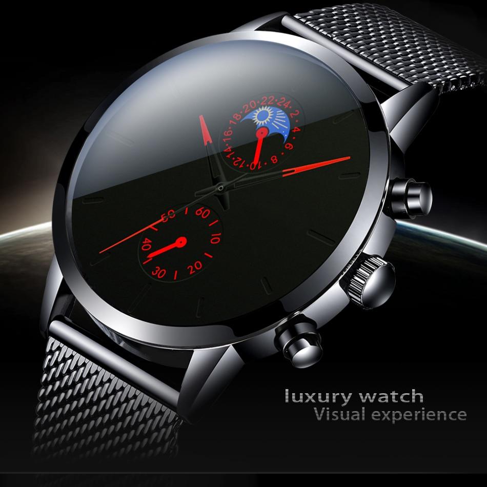 Fashion Mens Business Black Watches Luxury Stainless Steel Leather Belt Watch Quartz Men Wrist Watch Relojes Hombre