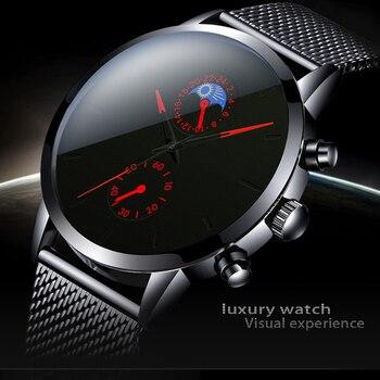Fashion Mens Business Black Watches Luxury Stainless Steel leather Belt Watch Quartz Men Wrist Relojes Hombre