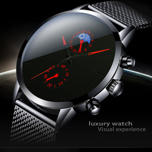 Fashion Mens Business Black Watches Luxury Stainless Steel leather Belt