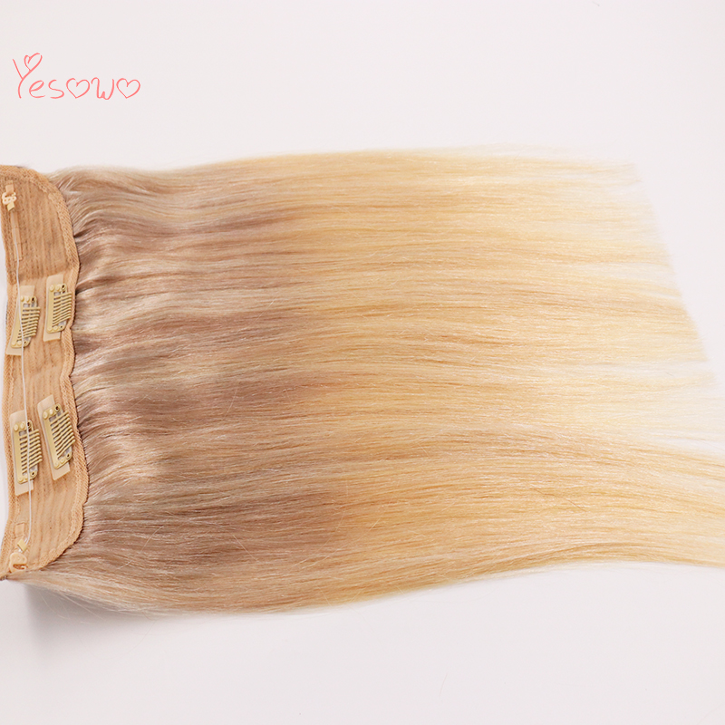 Yesowo Highlighted Hair Extensions One Piece Clip In Fish Line 12-20Inch Indian Remy Human Hair Straight Halo Hair