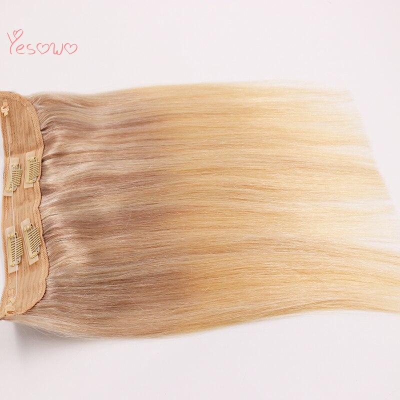 Yesowo brésilien droit 12-20 pouces 70g 80g 100g Halo cheveux avec Clips et ligne de poisson une pièce Clip dans les Extensions de cheveux humains