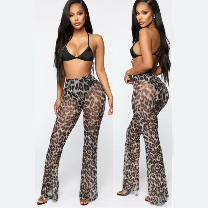 New Womens Leopard Sexy Beach Mesh Sheer Pants See Through Flare Pants Cover Up Beach Wear Ruffle Pants Trousers