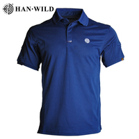 HAN WILD Tactical Army T-shirts Men Short Sleeve Quick Drying Polos Lightweight Outdoor Hiking Camping T-shirts Sports