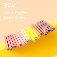 Marco c800 c810 c820 pastel quadrado caneta haste colorido lápis macarons caixa de estanho 12/24/48 cores conjunto profissional arte suprimentos