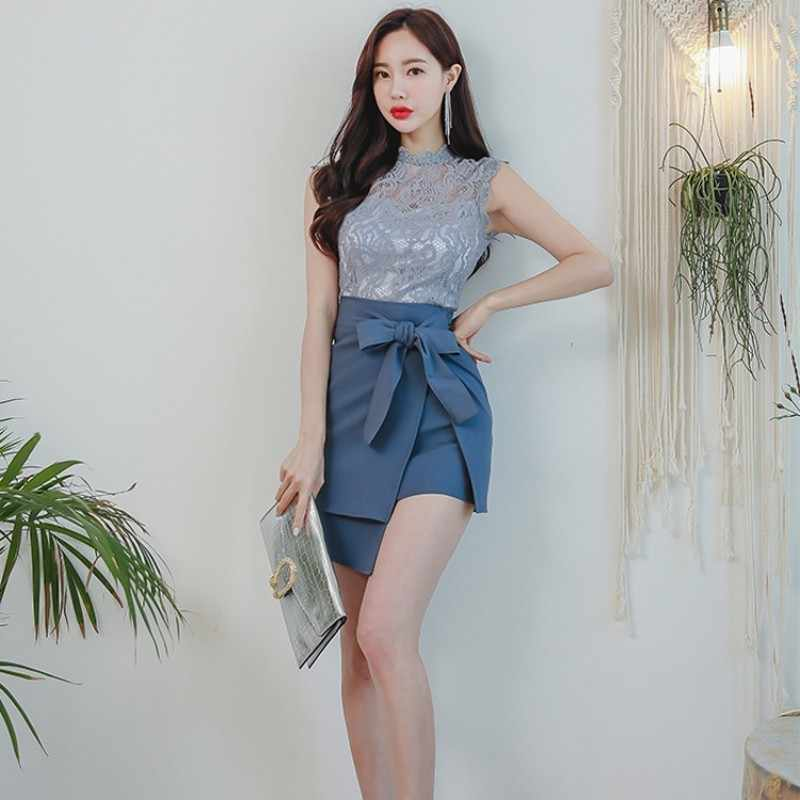 Zomer Nieuwe Sexy Vrouwen Hollow Out Lace Top Lace Up Wrap Rok 2 Stuks Office Dames Outfits Sets Slim Fit mouwloze Mini Rok Pak