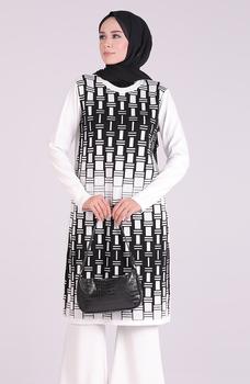 Minahill Ecru tunika moda muzułmańska islamska odzież skromne topy arabska odzież długa tunika dla kobiet 1095-01 tanie i dobre opinie TR (pochodzenie) tops Aplikacje Bluzki i koszule Octan Dla dorosłych