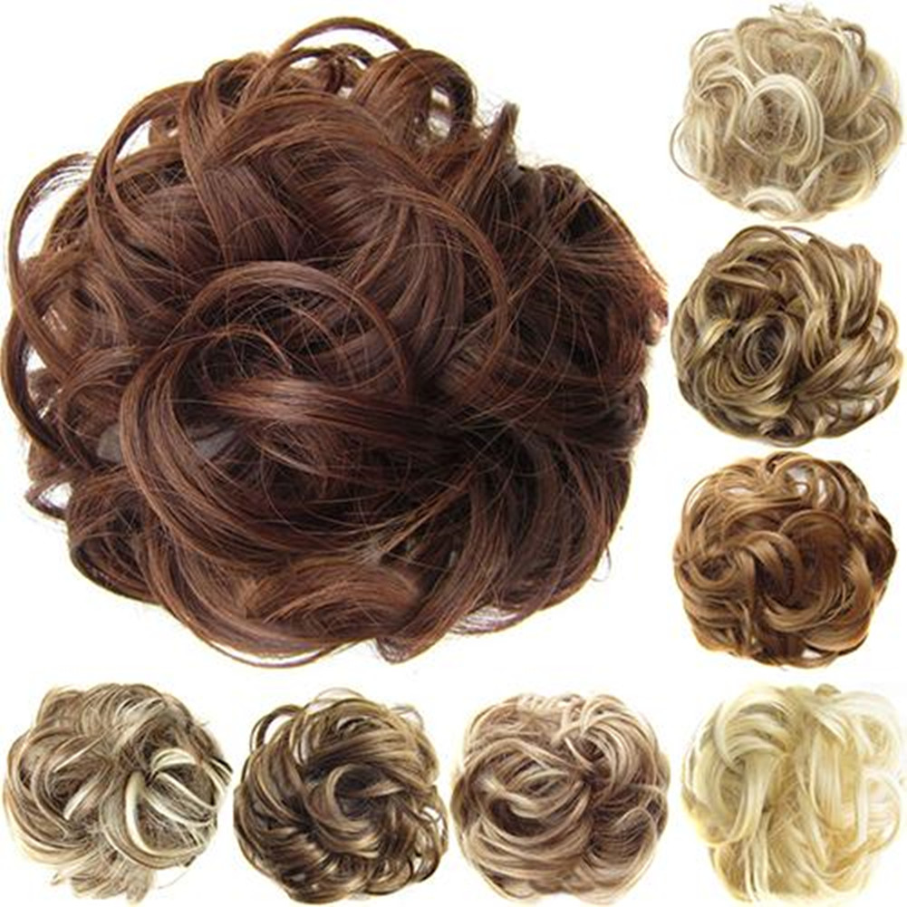 Fashion Women Wavy Curly Messy Hair Bun Synthetic Elastic Hair Tie Extension Hair Scrunchie Hairpieces Band Chignon Wig Hair