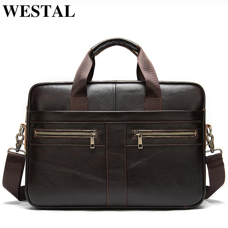 WESTAL Men's Briefcases Men's Bags Genuine Leather Lawyer/office Bag For Men Laptop Bag Leather Porte Document Briefcase Male