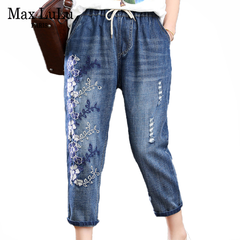 Max LuLu 2020 New Summer Fashion Ladies Floral Jeans Womens Luxury Embroidery Denim Trousers Female Ripped Elastic Harem Pants