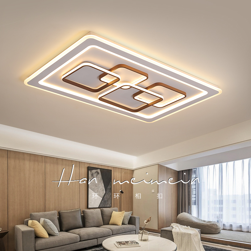 Rectangular Combination Hardware Acrylic Modern LED Chandelier Bedroom Dining Living Room Brown and White Ceiling Chandeliers