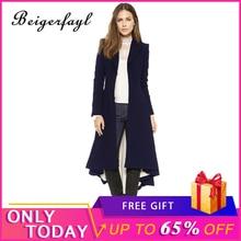 Beigerfayl 2019 Long Woolen Casaco Corta Vento Feminino Black Coats Preto Abrigo Negro Mujer Manteau Femme Coat Dress 8055