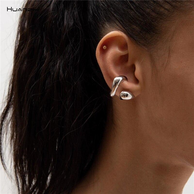 Huanzhi moda ouro sem piercing clipe de orelha cuff wrap brincos meia flor clipe não-piercing para festa feminina jóias