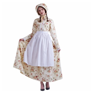 Dirndl Dress Costume Women Cosplay French Maid Apron Vintage Countryside Renaissance Colonial Period Dresses(China)
