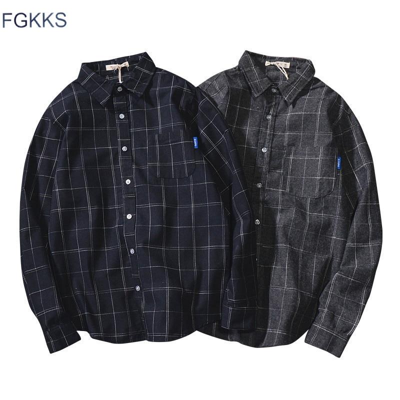 FGKKS Casual Brand Men Plaid Shirts Spring New Men's Turn-down Collar Shirts Male Long Sleeve Shirt Tops