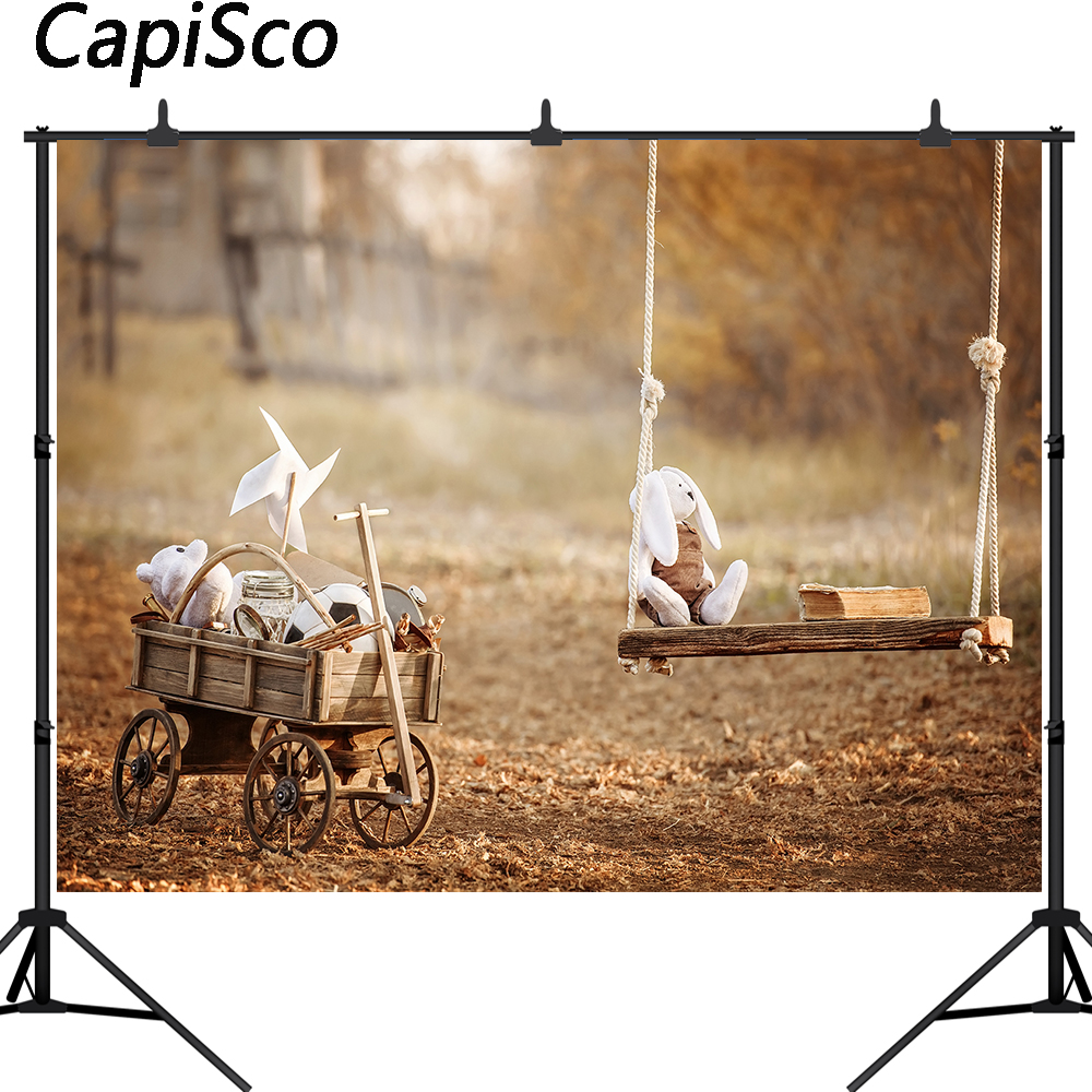 Capisco  Photography Background Children's toys on a swing in the garden summer day Backdrops for Photo Studio props