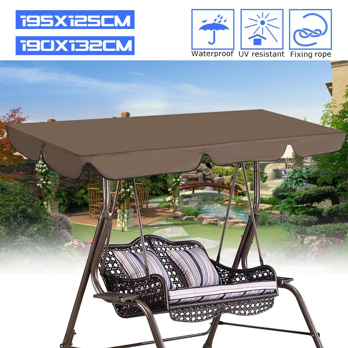 Summer Waterproof Top Cover Canopy Replacement For Garden Courtyard Outdoor Swing Chair Hammock Canopy Swing Chair Awning