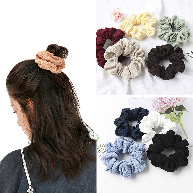 Solid Color Pleated Hair Rope Scrunchies Soft Elastic Hair Ties Women Simple Elegant Hair Accessories Ponytail Holder Headwear