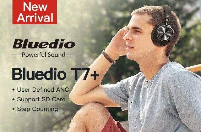 Bluedio T7 + Bluetooth słuchawki zdefiniowanych przez użytkownika aktywne redukcji szumów gniazdo kart sd bezprzewodowe słuchawki z mikrofonem z rozpoznawanie twarzy