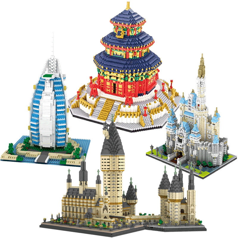 Architecture Medieval Castle College DIY Diamond Mini Building Blocks Easter Castle sports car for Christmas children gifts toys
