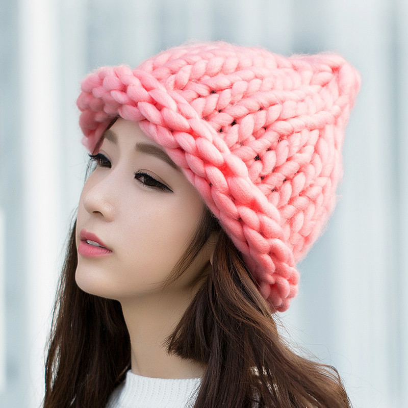 Hot Girl Winter Warm Hat Handmade Knitted Coarse Lines Cable Hats Knit Cap Beanie Crochet Caps Women Accessories